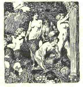 NORMAN LINDSAY 'Satyrs and Sunlight'  1928  ORIGINAL LIMITED EDITION OF 550