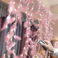 3*3M LED Feather String Light Pink Curtain Fairy Lights Copper Wire USB Remote
