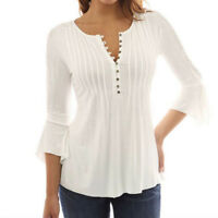 Womens V Neck Tunic Blouse Ladies 3/4 Sleeve Casual Loose T-Shirt Tops Plus Size