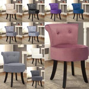 Velvet/Linen Vanity Stool Bedroom Makeup Dressing Table Desk Chair Padded Seater