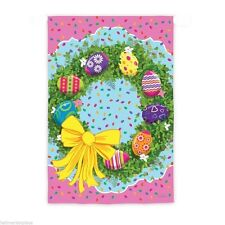 "EASTER EGG WREATH with JELLY BEANS FLORAL YARD GARDEN FLAG 12.5"" X 18"""