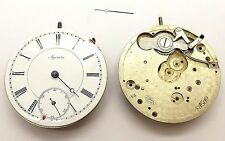 NICE PAIR ANTIQUE AGASSIZ OPEN FACE POCKET WATCH MOVEMENTS ~SPARES OR REPAIRS~