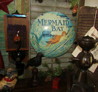Primitive Antique Vtg Style Mermaid Sea Surf Bay Ocean Round Dome Metal Tin Sign
