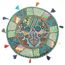 Boho Cotton Round Patchwork Floor Cushion Cover Adults Embroidered Vintage 22x22