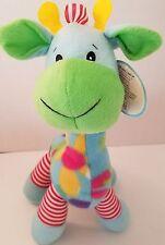 "Animal Pals Kellytoy Plush Fleece Giraffe Stuffed Animal 15"" Lovey Toy Blue"