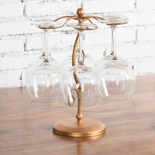 MyGift 6 Hook Freestanding Copper Tone Metal Countertop Wine Glass Stemware Rack