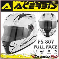 CASO INTEGRALE ACERBIS FS-807 MOTO SCOOTER FULL FACE BIANCO NERO TAGLIA M