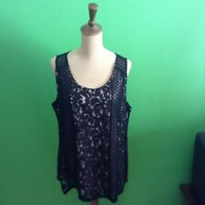 BLACK LACE SLEEVELESS SHELL TOP: SIZE XL (FITS 18-20)