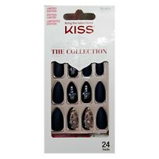 KISS*24 Glue-On Nails THE COLLECTION Stiletto SATIN BLUE+BLACK+CROSS+STONE#76459