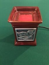 Scentsy full size Maroon warmer with Butterfly design & 5 Wax Block, refurbished
