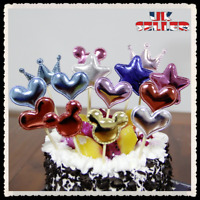 6 Pcs 3D Cake Topper Birthday Party Happy Decoration Acrylic Supplies Gold UK