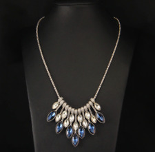 Beautiful Silver &  Blue Rhinestones Statement Necklace
