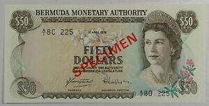 Bermuda 50$ 1978.04.01. Flowers & Lighthouse P32s Series A/1 Specimen GEM UNC