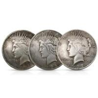 Statue of Liberty and Peace Coin Silver Dollar Eagle Collection 38MM 3 COIN SET