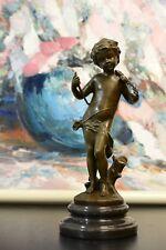 SIGNED A.Moreau, bronze Italian boy violin player statue