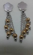 orecchini oro bianco e giallo 750 a forma di margherita e palline pesano g. 6,5