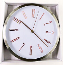 "NEW  11.5"" STAINLESS IRON WHITE DIAL  WALL CLOCK BRONZE NUMBERS- ITEM # FS25514X"