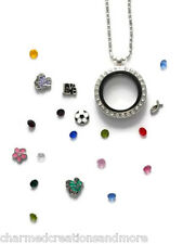 "25mm Round CZ Crystal Floating Charm Glass Memory Locket Necklace With 18"" Chain"