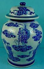 Vintage Thai Blue & White Porcelain 'Eight Taoist Immortals' Temple Jar