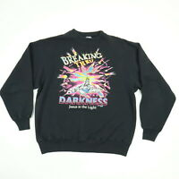 Vtg 90s Christian Hanes Sweatshirt MEDIUM Faded Black Breaking Darkness Grunge