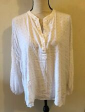 Hatch Maternity large high low white pattern button shirt blouse top NEW $188
