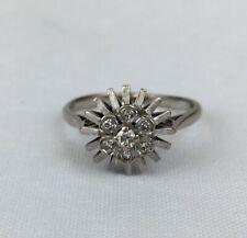 Vintage 18ct White Gold Diamond Cluster Spray Dress Ring Size O - O 1/2 3.5g