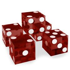 Red 19mm Casino Precision Craps Serialized Razor Edged Dice - Stick of 5 New