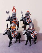 Playmobil custom 4 mounted silver knights, unique fleur de lys shielded, rare
