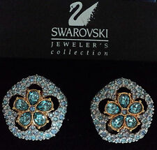 Signed Swan Swarovski Gold Plated Sand Dollar Clip Earrings