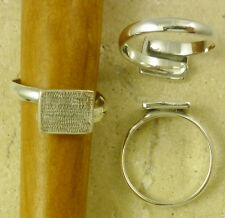 Solid Sterling Silver Adjustable Ring Finding with 8mm x 10mm Blank Pad Setting