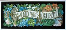 art print~IN GOD WE TRUST~ flowers Victorian vtg floral repro religious 14.5x6.5