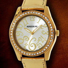 Rousseau Calame Swarovski crystals With Golden Leather Strap Ladies Watch