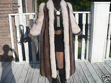 Mint Full length Raccoon & White Fox Fur coat jacket S