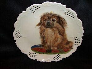 "Vintage 10 1/4"" Hand Painted China Plate Pekingese Dog On Pillow Portrait"