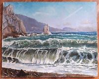 Ölgemälde 45x60 signiert Meer Felsen Ölbild 1989 russisch Maler Karton grundiert