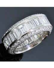7.10 ct Round & Baguette Diamond Eternity Band Platinum Ring Size 8, D-F VS