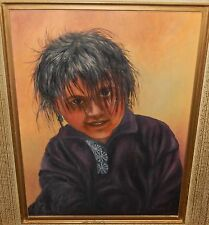 H.SHIRLEY INDIAN GIRL ORIGINAL OIL ON BOARD PAINTING