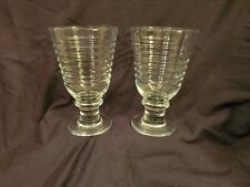 Pair Vintage Clear Glass Ribbed Design Water Goblets Glasses