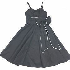 YOUNG THREADS Black Empire waist Fit and Flare Dress Sleeveless size S NWT Bow