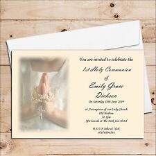 10 Girls 1st First Holy Communion Invitations Invites Personalised D15