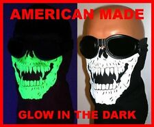 GLOW IN THE DARK SKULL SKI FACE MASK NECK DUST WIND COVER COTTON BLACK BANDANA L