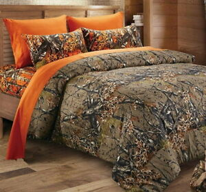 4pc Twin WOODLAND Brown CAMO COMFORTER / Orange SHEET SET : HUNT WOODS TREE