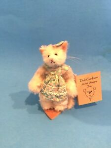 "DEB CANHAM ""PRUE"" MINIATURE WHITE MOHAIR CAT WITH FLORAL DRESS- 3"""