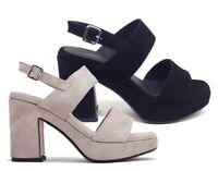 FRAU 89A2 CORDA NERO scarpe donna sandali pelle camoscio tacco zeppa plateau