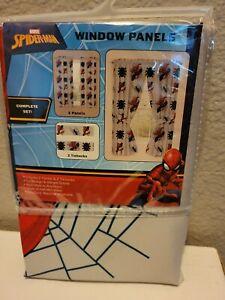 "Spiderman-Curtain Window Complete Set, 2 Panels With Tiebacks 82""x63"" New"