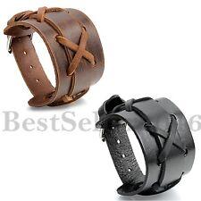 2pcs Leder Armband Armreif Manschette Schwarz Braun Geflochten Kreuz Kruzifix