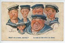 Funny Artist-Signed NAVY Cartoon Fat Skinny Men Women Military McGill WWII