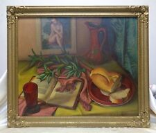 Signed Vintage Still Life Oil Painting on Canvas Panel in Antique Wood Frame