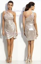 NWT $285 Laundry By Shelli Segal Metallic Jersey Beaded One shoulder Dress 10