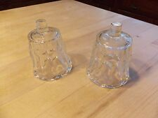 Clear Glass Scalloped Top Ribbed Bottom Votive Peg Pair